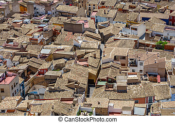 Top view of roofs in crowded city