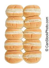 row of bread rolls