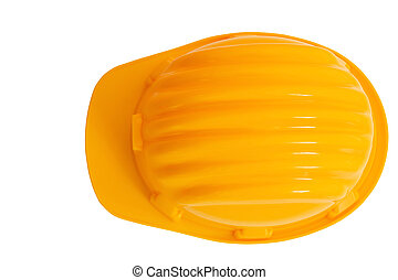top view of safety, construction protection helmet isolated white background