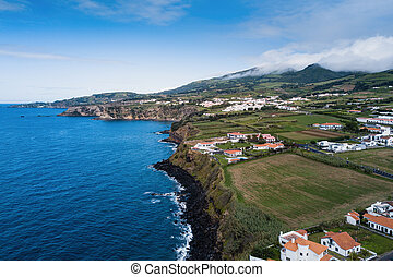 Top view of San Miguel island, Atlantica ocean, Azores, Portugal.