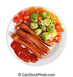 Top view of sausages with vegetables
