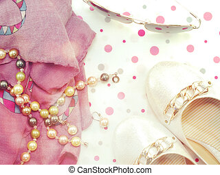 top view of scarf pearl necklace and woman flats shoes with vintage filter color
