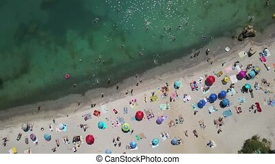 Top view of sea and beach with people - Nice beach in Odessa...