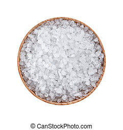 Top view of sea salt isolated on white background