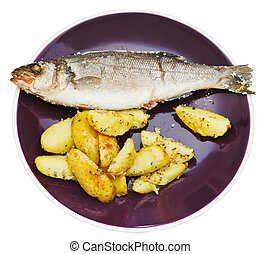 top view of seabass and fried potatoes in plate