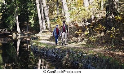 Top view of senior father and his son walking arm in arm by lake in nature, talking. Slow motion.