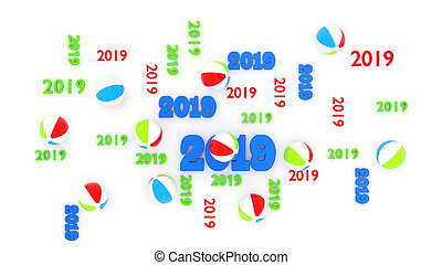 Top View of Several Beach Ball 2019 Designs with Some Balls...
