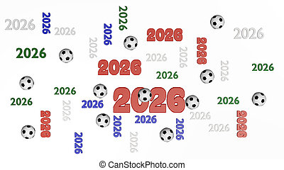 Top View of Several Football 2026 Four-Colored Designs with Some Balls