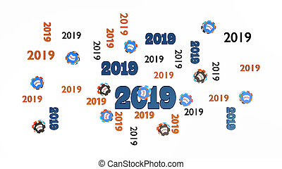 Top View of Several Poker 2019 Designs with Many Chips