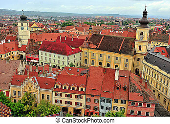 Top view of Sibiu historical centre