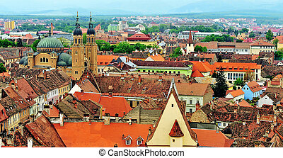 Top view of Sibiu old town