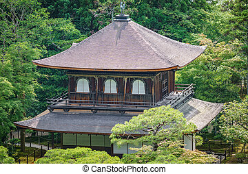 Top view of silver temple in Kyoto