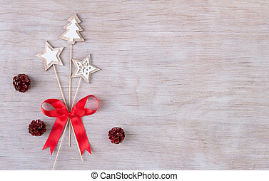 Christmas decoration on wooden background - Top view of...