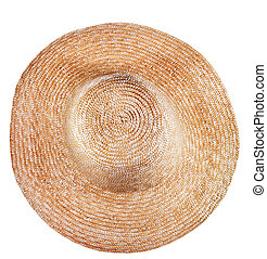 top view of simple rural straw broad-brim hat isolated on white background