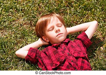 Top view of sleeping little boy on grass