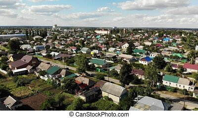 Top view of small town in central Russia. moving sideways