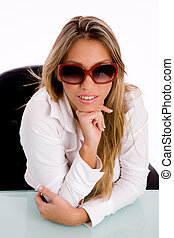 top view of smiling female wearing sunglasses