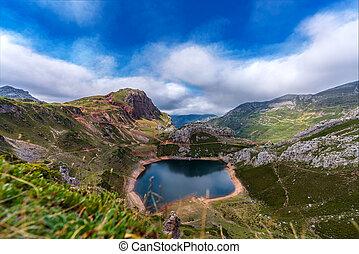 Top view of Somiedo lake in Asturias, Long Exposure