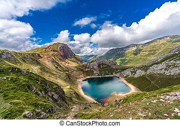 Top view of Somiedo lake in Asturias