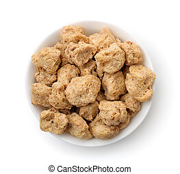 Top view of soya chunks in bowl
