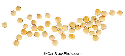 Top view of soybeans isolated on a white background. Healthy food.