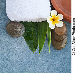 Top view of spa objects on blue background.