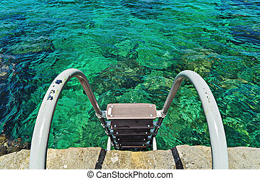Top view of stairs leading to the turquoise sea