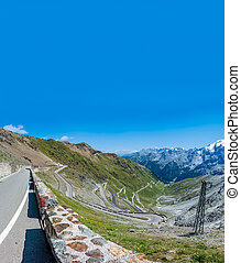 Top view of Stelvio zig-zag mountain road - Top view of ...