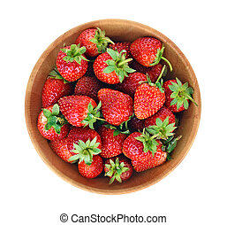 Top view of Strawberry on white background