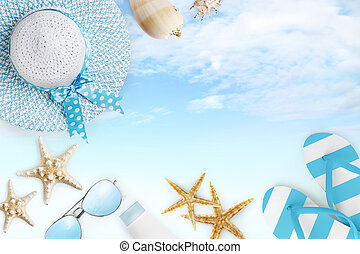 Top view of summer beach accessories on blue sky backgroundsea holiday vacation and travel concept