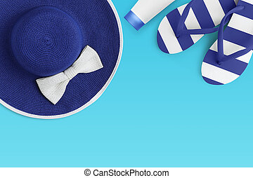 Top view of summer beach blue accessories isolated on azure background sea holiday vacation and travel concept