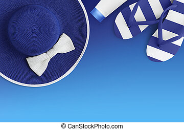 Top view of summer beach blue accessories isolated on blue background sea holiday vacation and travel concept