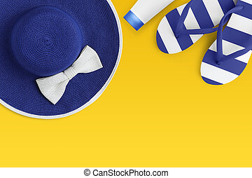 Top view of summer beach blue accessories isolated on yellow background sea holiday vacation and travel concept