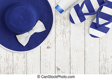 Top view of summer beach blue accessories on white wooden background sea holiday vacation and travel concept