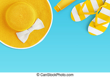 Top view of summer beach yellow accessories on blue backgroundsea holiday vacation and travel concept