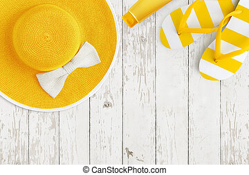 Top view of summer beach yellow accessories on white wooden background sea holiday vacation and travel concept