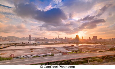 Top view of sunset in Hong Kong, View from kowloon bay downtown timelapse