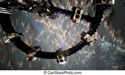 Top view of Surveyor spacecraft above Mars. Elements of this...