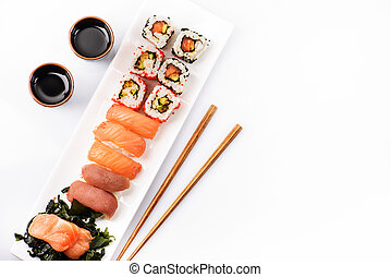 Top view of sushi set isolated over white