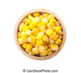 Top view of Sweet corn in wooden bowl on white background.
