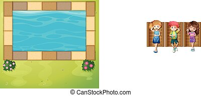 Top view of swimming pool in park