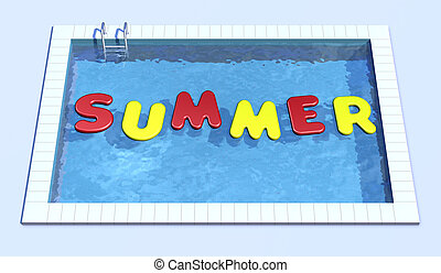 top view of swimming pool with inflatable pillows that form the word summer (3d render)
