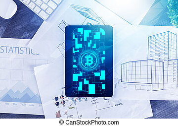 Project and cryptography concept - Top view of tablet with...