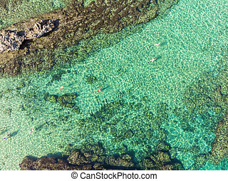 Top view of the beautiful sea off the coast of Protaras, Cyprus