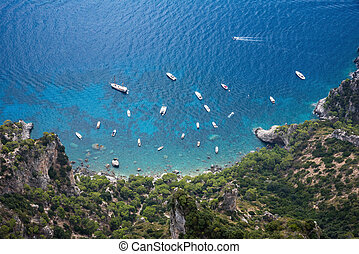 Top view of the boats at Capri Island coast