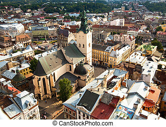 Top view of the Cathedral in Lviv, Ukraine