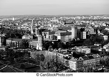 Top view of the center of Krakow, Poland. Black and white photo.