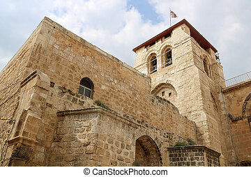 Top view of the church of the Holy Sepulchre in Jerusalem, Israel
