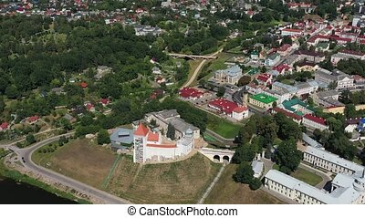 Top view of the city center of Grodno, Belarus. The historic centre with its red-tiled roof, the castle and the Opera house