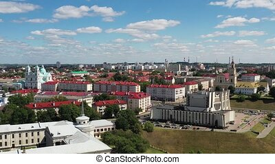 Top view of the city center of Grodno, Belarus. The historic centre with its red-tiled roof,the castle and the Opera house